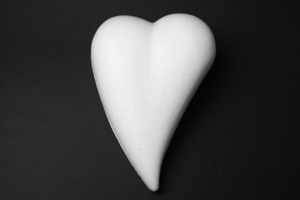 Styropor-Herz, weiß, Tropfenform, Vollform, 8 x 5,5 cm