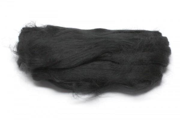 Maulbeerseidenfasern, gekämmt, 10 g, schwarz glänzend