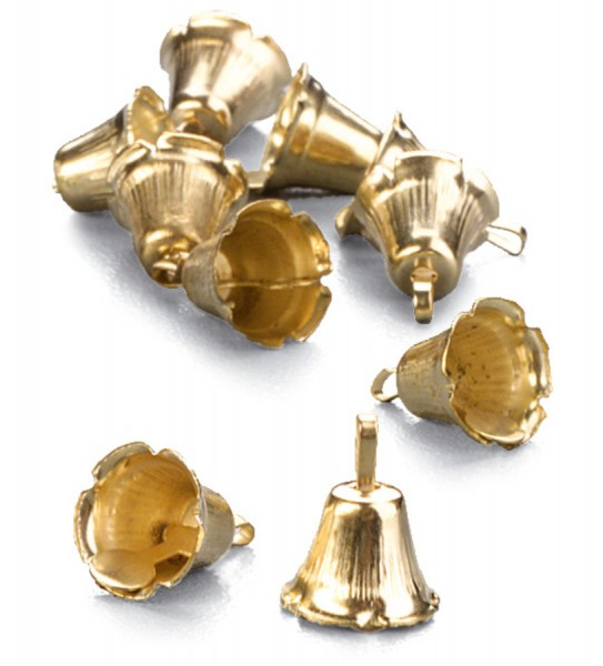 Metallglöckchen, Ø 10 mm, 24 Stück, goldfarben