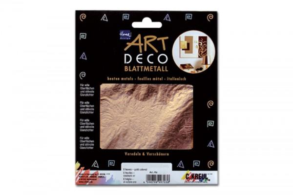 ART DECO Blattmetall, 6 Blatt, 14x14 cm, Kupferfarben