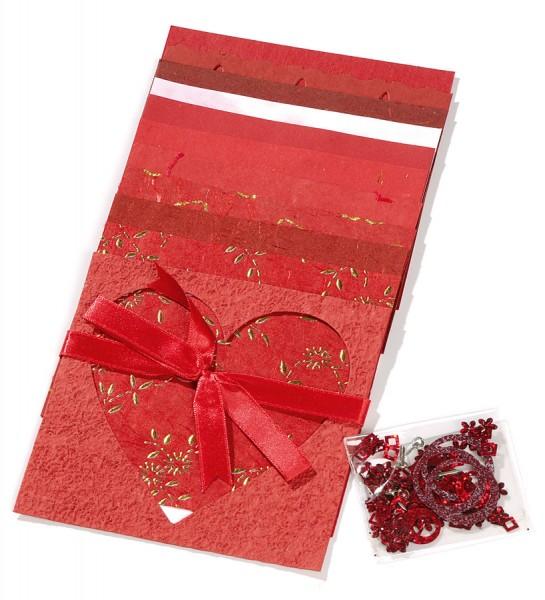 Naturpapierset mit Kleinteilen, rot