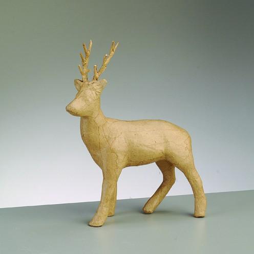 Hirsch stehend, aus Pappmachè, 25 x 21 cm