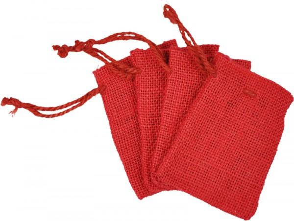 Jutebeutel/Jutesäckchen, 6x10 cm, rot