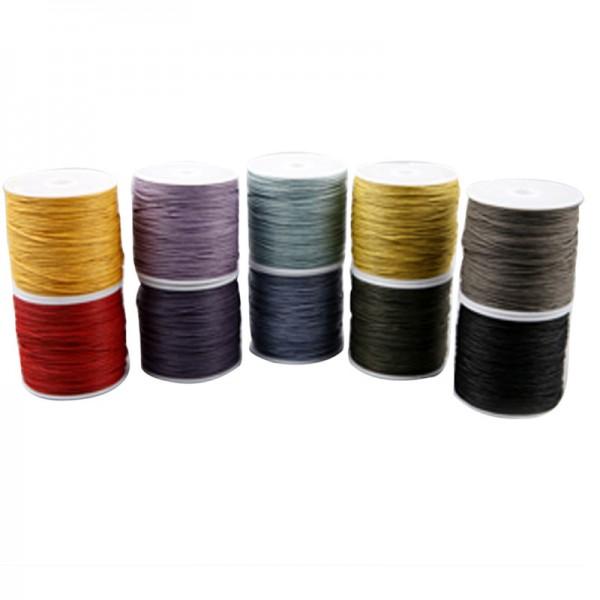 Baumwollkordel-Sortiment,1 mm,kräftige Farben, 10 x 50 mtr.