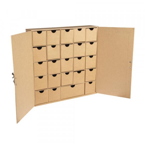 Pappm. Adventskalender Schränkchen mit 24 Schubladen