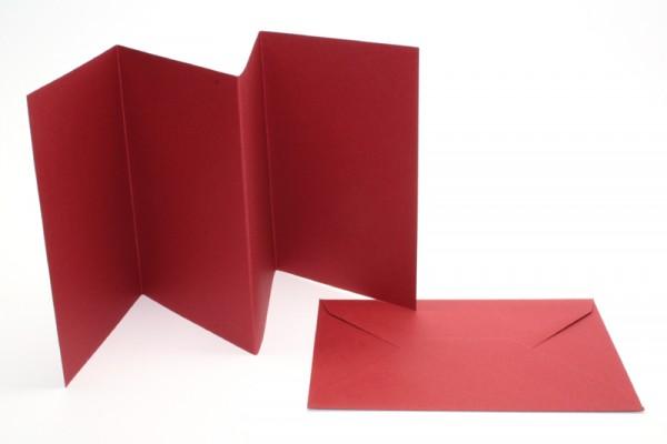 Leporello-Karten, 3 Karten, 3 Kuverts, dunkelrot
