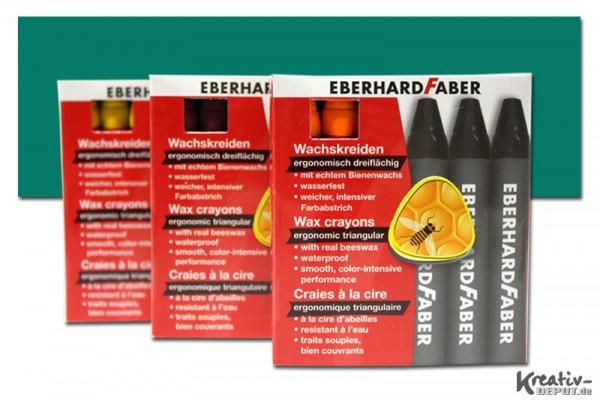 EBERHARD FABER Wachsmalkreiden, 12 Stück, kobaltgrün tief