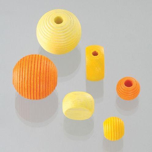 Holzperlen Formen-Mix gelbmix, ca. 6-20 mm - 25 Stück
