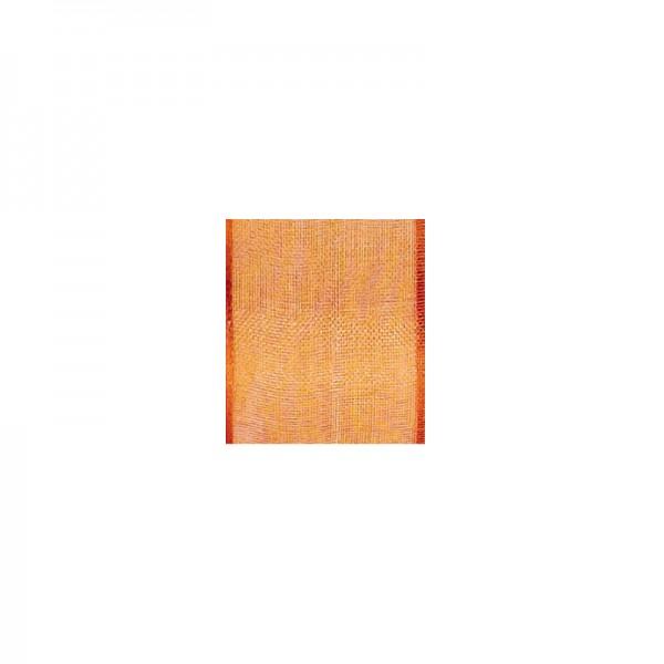 Chiffonband mit Drahtkante, 40mm breit, 5m lang - hellorange