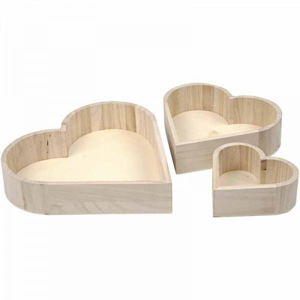 Schalen in Herzform aus Holz 3 teilig