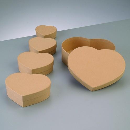 Boxen-Set Herz, aus Pappmaché, 5-teilig