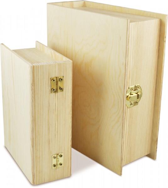 Deckeltruhen-Set Buch, 2-teilig, 19,4 x 6,7 x 15,7 cm