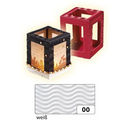 Laternenrohling, eckig, aus 3D-Welle, 13,5x13,5x18 cm, weiß