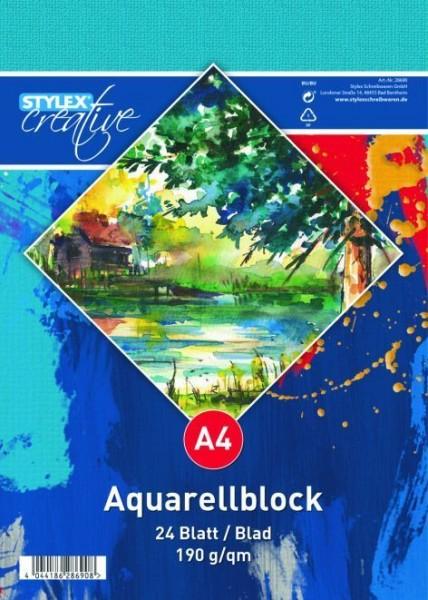 Aquarellblock, DIN A4, 190g, 24 Blatt