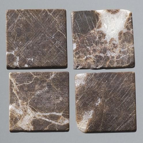 Efco Mosaik Echtstein pur, 20 x 20 mm, dunkelbraun / weiß