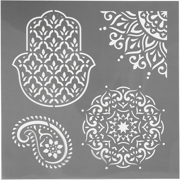 Schablone, 30,5 x 30,5 cm, Ethno-Muster