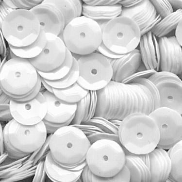 Pailletten, rund, gewölbt, 6 mm, 1400 St, weiß
