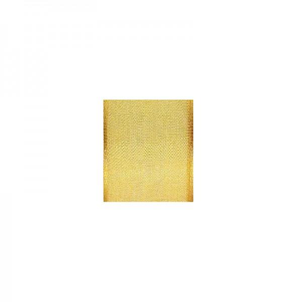 Chiffonband mit Drahtkante, 15mm breit, 5m lang - hellgelb