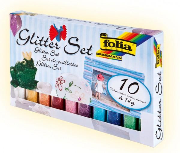Glitter-Set, 10 Röhrchen à 14 g, farbig sortiert