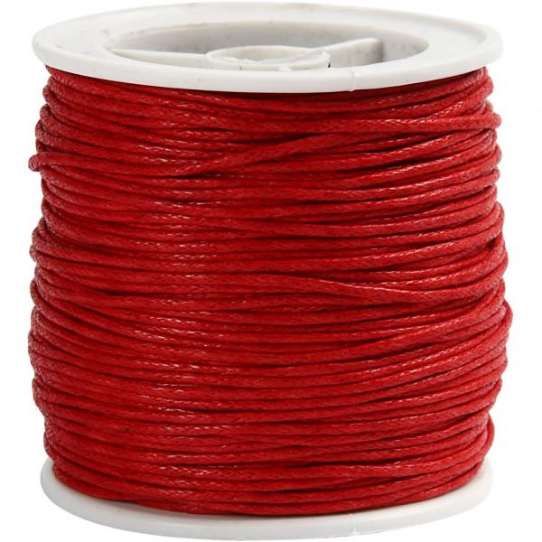Baumwolllkordel, gewachst, Ø 1 mm, 40 m, rot
