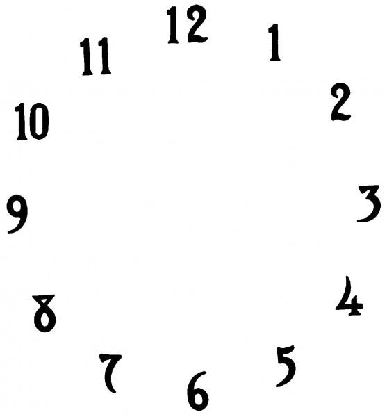 Zifferblatt Zahlen, aus Metall, 10 x 0,6 mm, schwarz