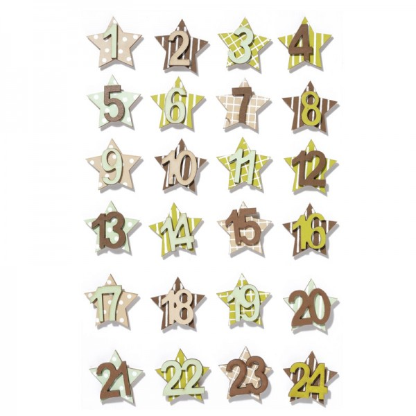 Mini Holzzahlen-Set 1-24 - schlamm-farben