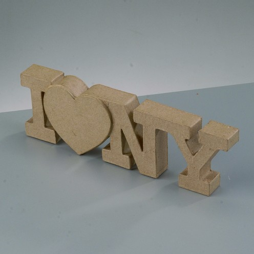 Schriftzug I love NY aus Pappmachè, 20,5 x 6,2 x 2 cm