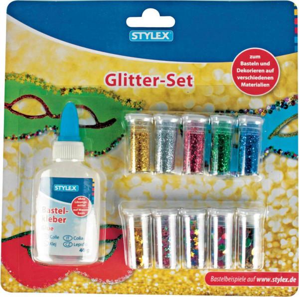 Glitter-Set, 5 x Glitterpulver, 5 x Streudeko, 1 Deko-Kleber