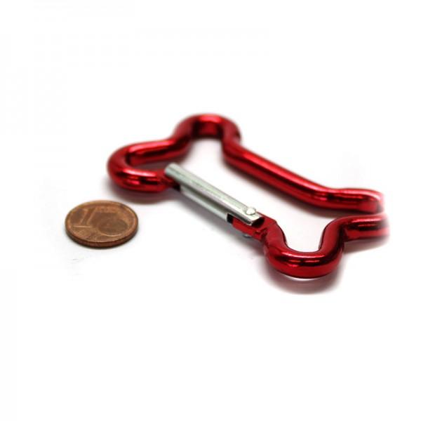 Alu. Karabinerhaken Knochen -Rot