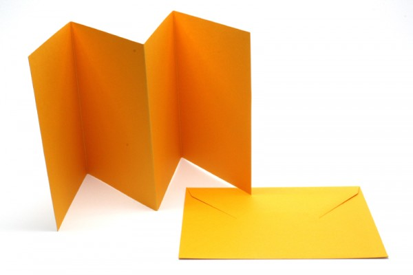 Leporello-Karten, 3 Karten, 3 Kuverts, dunkelgelb