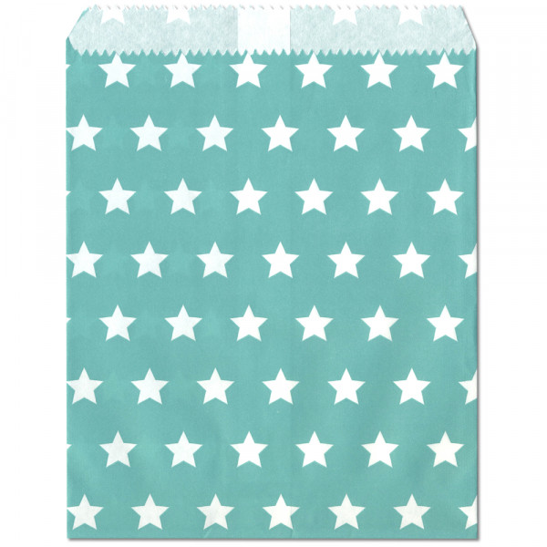 Papier-Geschenktüte, türkis, Sterne, 13x16,5cm, 25 Stück