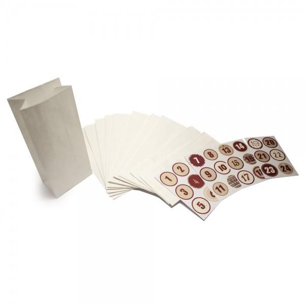 Adventskalender Papiertüten Set - Weiß