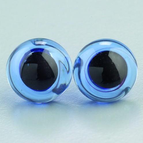 Tieraugen mit Öse, Glas, blau, Ø 14 mm, 2 Stück