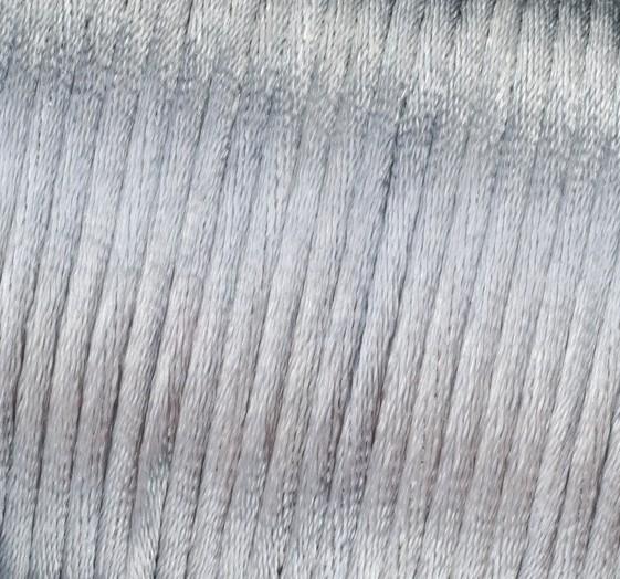 Satin Flechtkordel, Länge 50 m, Stärke 2 mm, hellgrau