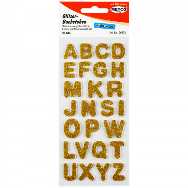 ABC Sticker, Glitter-gold, 2mm stark, 2cm hoch