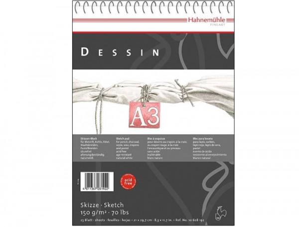 Skizzenpapier Dessin 150 g/m², DIN A3, 25 Blatt