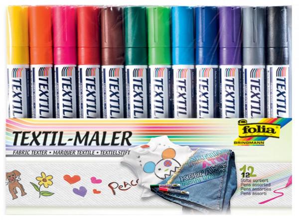 folia Textil-Maler 12er Set farbig sortiert