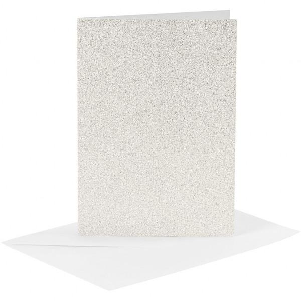 Karten und Kuverts, je 4 Stück, 10,5 x 15 cm, weiß-glitter