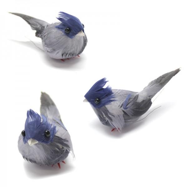 Deko-Vögel, 3 x blau