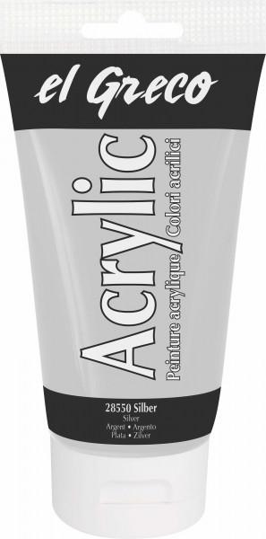 Acrylfarbe el Greco Acrylic, 150 ml - Silber