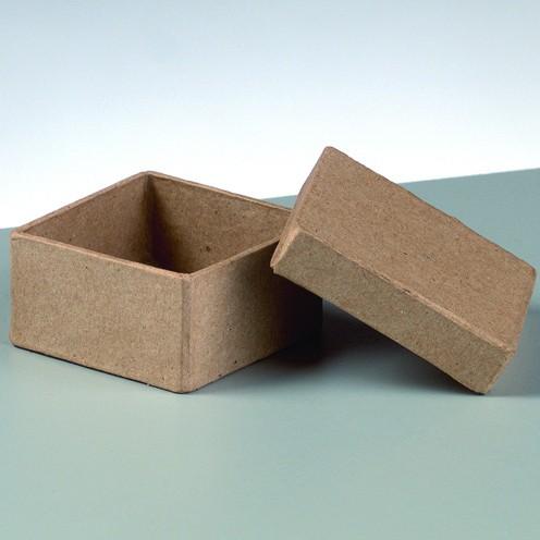Box mini Quadrat, aus Pappmaché, 5 x 5 x 2,5 cm