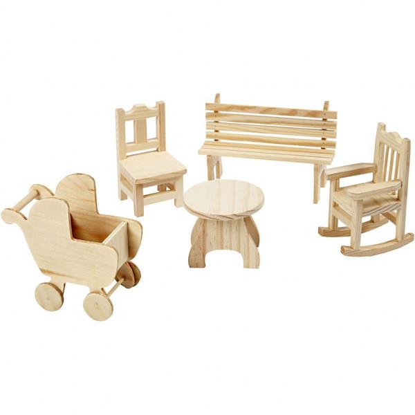 Miniatur-Möbel aus Holz, 5 Stück sortiert