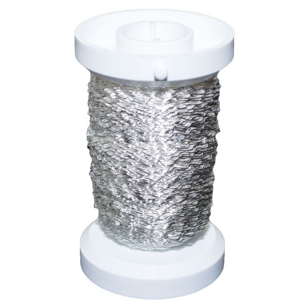 Bouillondraht, Effektdraht, silber, 0,25 mm Ø - 60 m