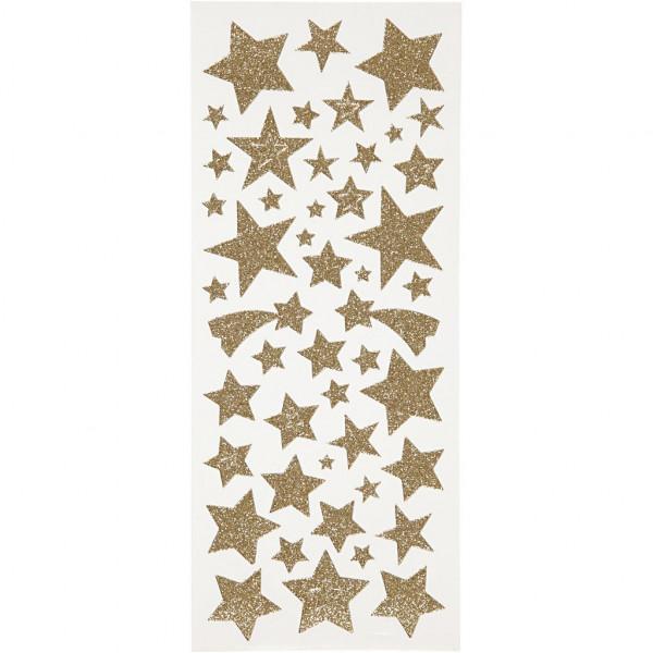 Glitzer-Sticker, Blatt 10x24 cm, ca. 110 Stück, goldene Sterne
