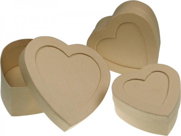 Deckeldose Herz mit Fenster, aus Pappmaché, 3-teilig