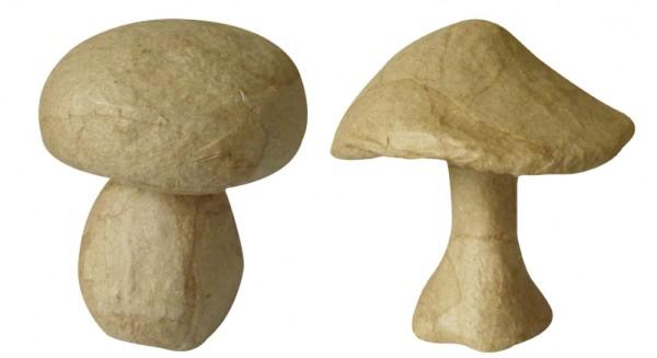 Pilze klein, 2er Set, aus Pappmaché