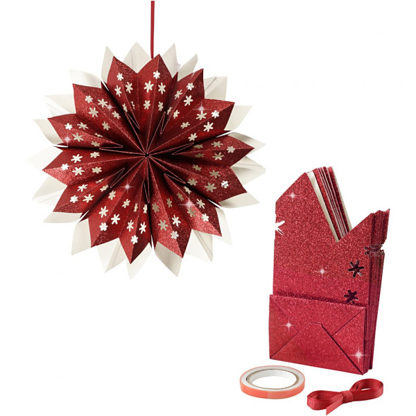 Stern aus Papiertüten, Bastelset, Ø 33 cm, glitter-rot
