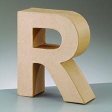 Buchstabe R, 10 x 3 cm, aus Pappmaché