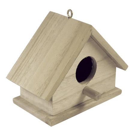 Vogelhaus, aus Holz, 14 x 10 x 7,5 cm