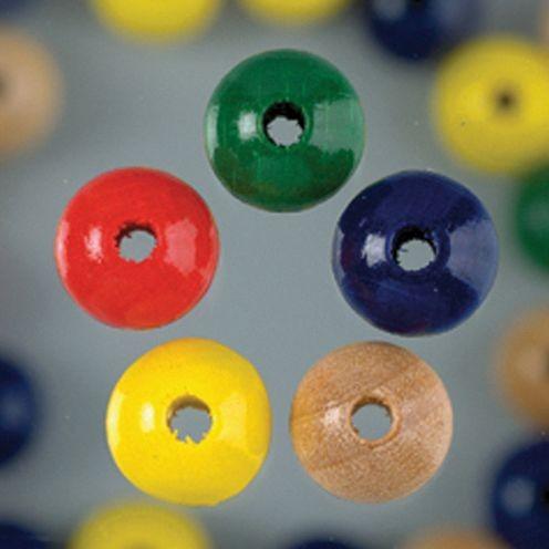 Holzperlen 10mm, 53 Stück - farbig sortiert